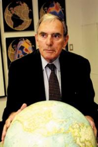 Adam Dziewonski of Harvard University with his globes.