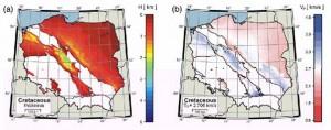 Mapy grubości warstwy i prędkości średniej dla kredy.