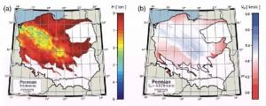 Mapy grubości warstwy i prędkości średniej dla permu