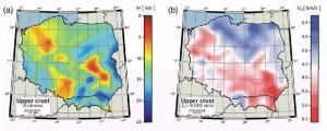 Mapy grubości warstwy i prędkości średniej dla górnej skorupy