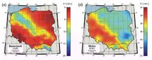 Mapy głębokości podłoża i granicy Moho