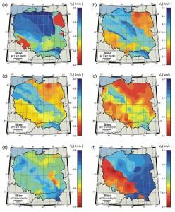Przekroje poziome na głębokościach 1, 3, 5, 10, 15 i 35 km