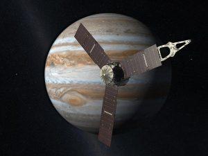 Sonda Juno w pobliżu Jowisza. NASA.