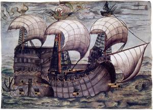 Galeon z XVII wieku.